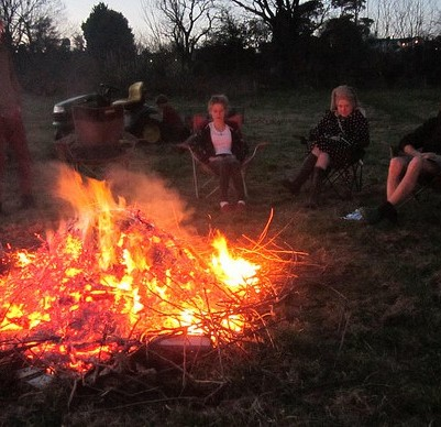 A bonfire of prunings, March 2012