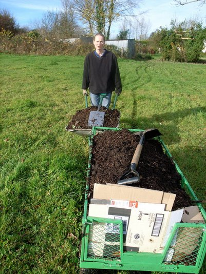 Preparing to plant: cardboard and woodchip mulch, November 2008
