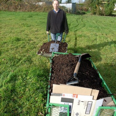 Preparing to plant: cardboard and woodchip mulch, November 2008
